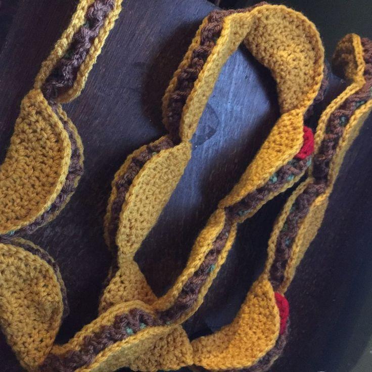 Taco Scarf Crochet Fun Novelty Food Accessory Handmade Fall Autumn Winter | eBay