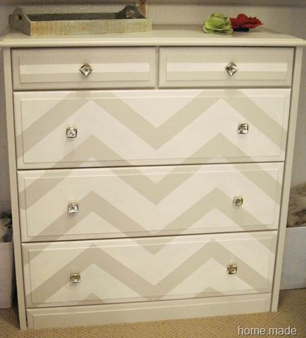 DIY cream and grey chevron dresser.  I'm working on a dresser just like this.
