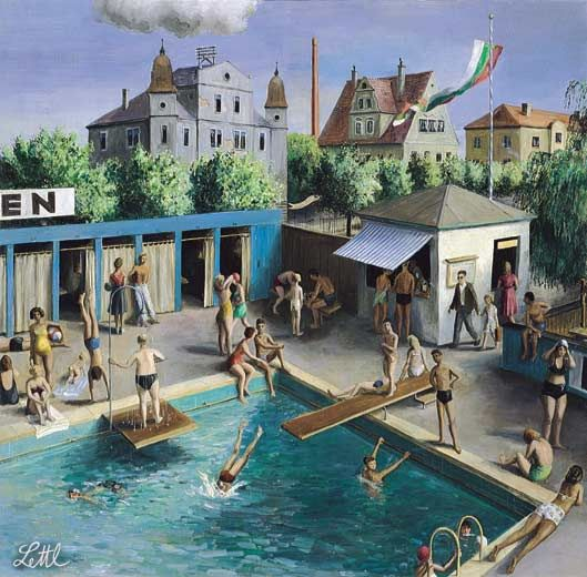 Wolfgang Lettl - Familienbad (Public Swimming Pool) 1950, 56x57 cm