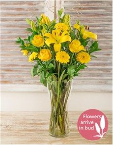 Singapore Flowers: Yellow Gerbera Daisy Lily and Rose Vase!