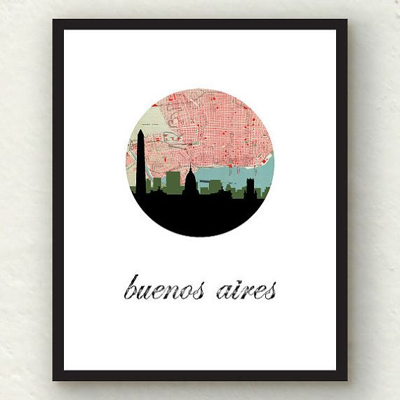 Buenos Aires map print | Argentina map art | Argentina poster | South America…