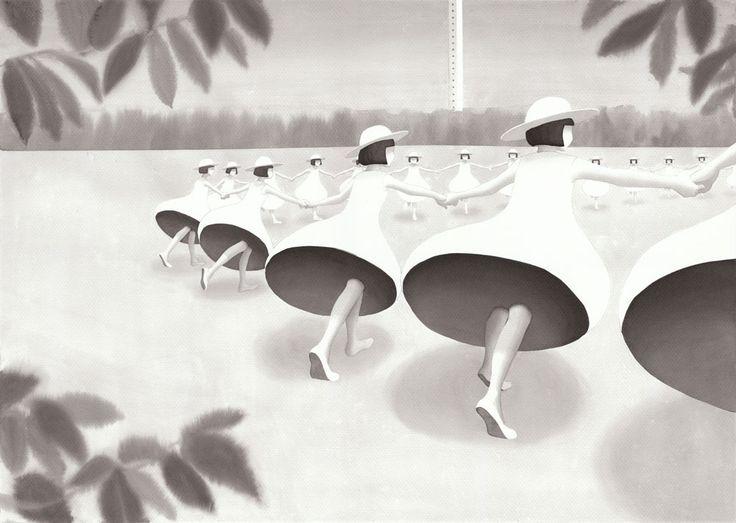 『来たるべき日のためのダンス』 墨汁 40cm×56cm