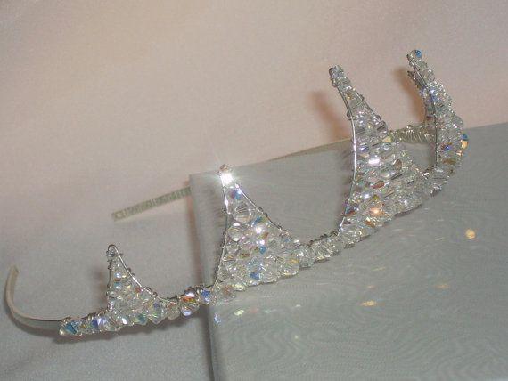 Handmade swarovski small peak sparkly crown by HelenCurtisTiaras, £45.00