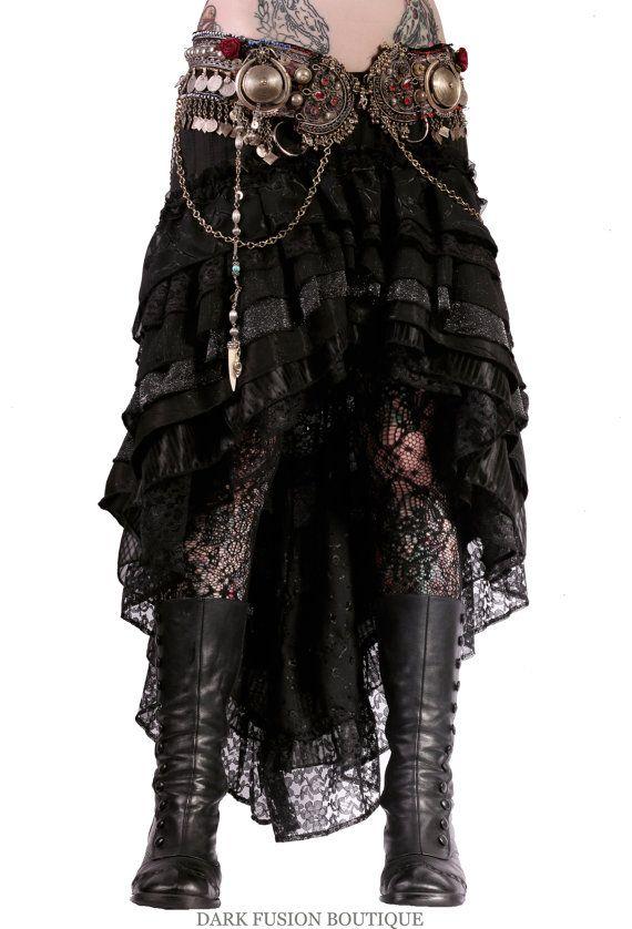 Black lace hi-low tribal bellydance skirt & belt