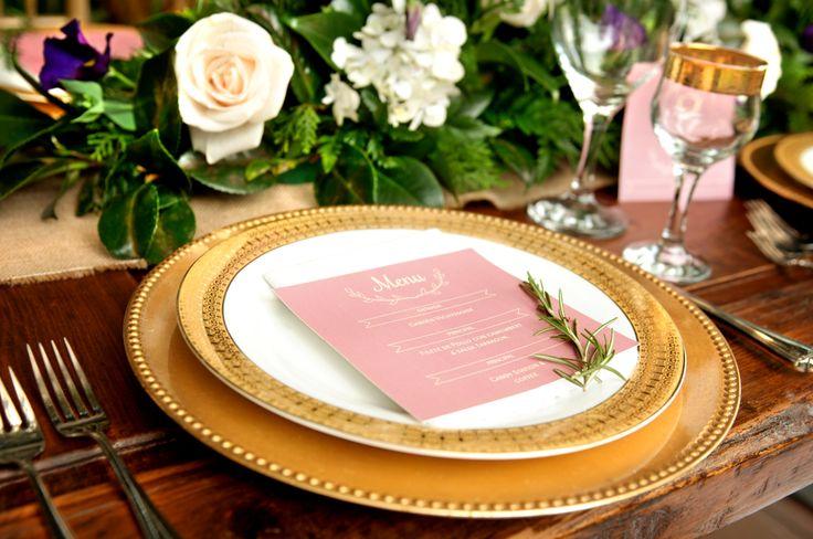 Event Design & Styling: Decor&Planning Menu details and gold glassware