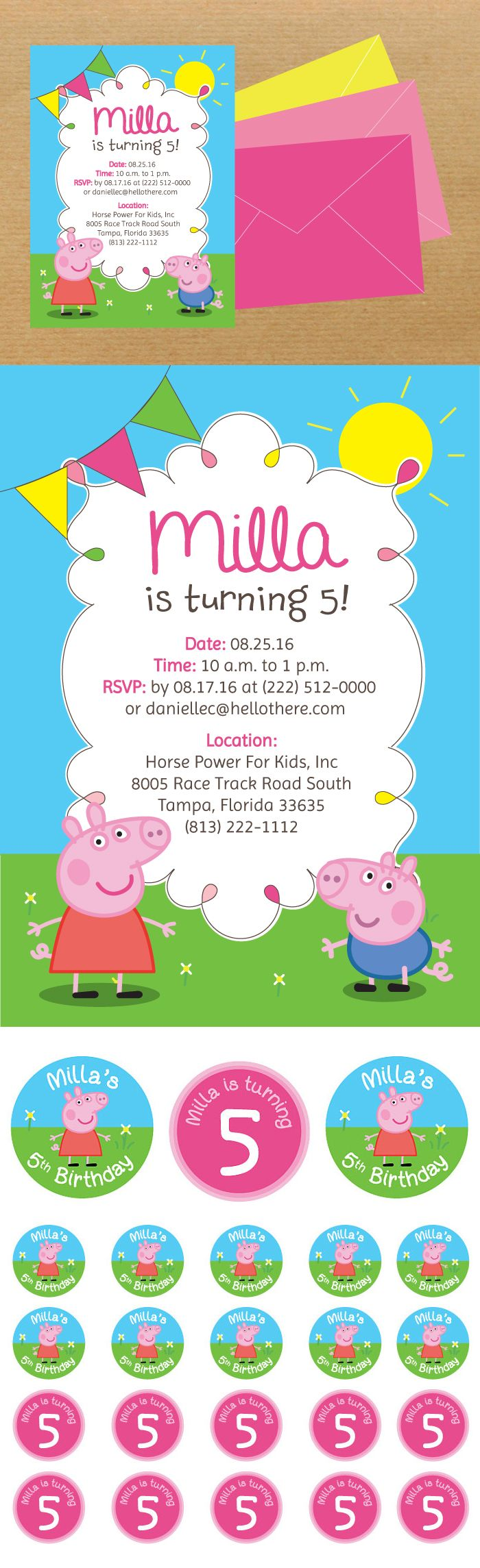 Peppa Pig Kids Party // Invitation + Stickers « Danielle Comstock