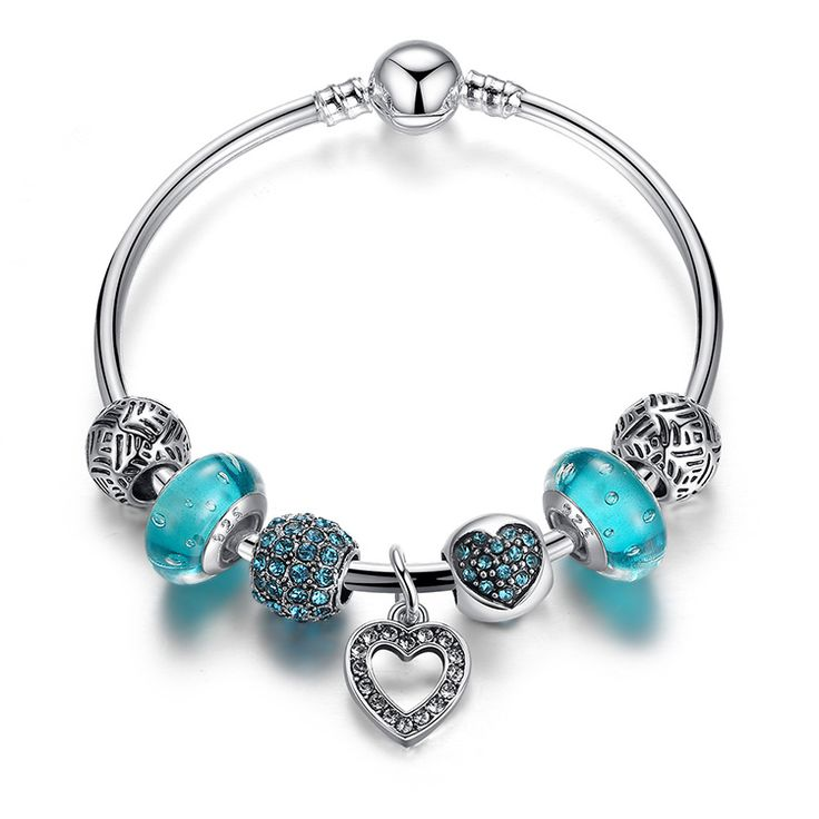 Blue Heart Charm Silver Plated Bangle ($18USD) - SharezUp donates one clothing piece of your choice to people in need for every sale. Let's #changetheworld together!