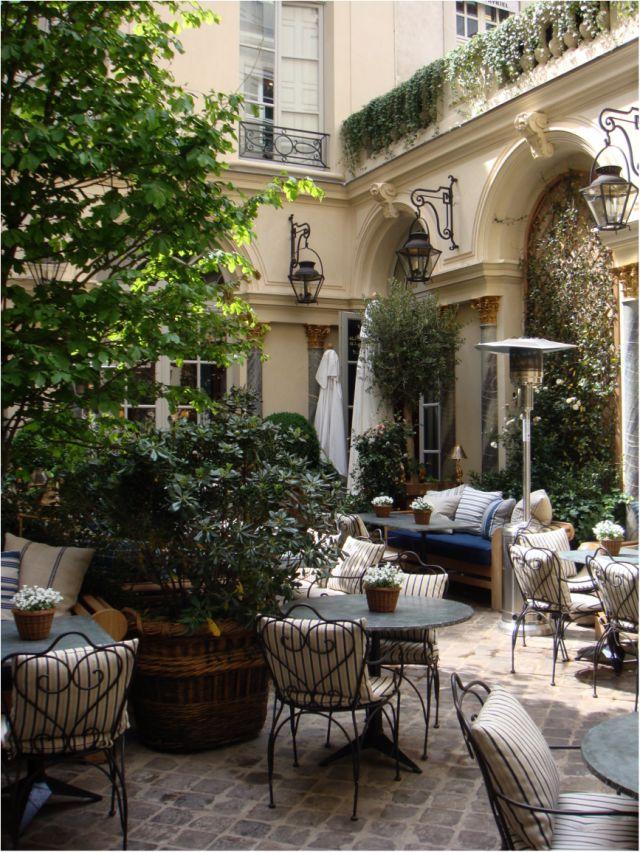 Ralph Lauren flagship store in Saint-Germain des Prés.  Courtyard restaurant, terrace of  luxury .