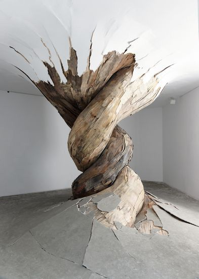 #retakeyourpower Brazilian artist Henrique Oliveira's incredible installations look like giant overgrown tumors or roots that are slowly taking over the spaces they inhabit breaking through doors, walls, floors, and ceilings. Created out of splintered and discarded plywood Oliveira's creations look like three dimensional wooden patchwork quilts that are taking over every nook and cranny they can, never stopping to ask for permission or directions.(via collabcubed)