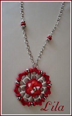 Artes da Lila: Colar flor de lacre em vermelho                                                                                                                                                                                 Mais