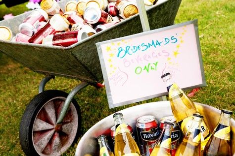 Wheelbarrow & tin baths filled with beer and cider - garden party