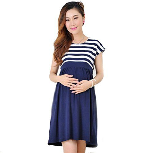 Amashz Maternity dress casual cotton maternity clothes plus size ledies stripe Pregnant XL Blue * To view further for this item, visit the image link.Note:It is affiliate link to Amazon.