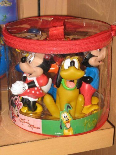"Disney Mickey Mouse and Friends Bath Pool Squeak Toys Set by disney. $31.45. DISNEY THEME PARK EXCLUSIVE...   MICKEY AND FRIENDS BATH TOY SET OF 5.   IT COMES TO YOU BRAND NEW STRAIGHT FROM WALT DISNEY WORLD!! FEATURES MICKEY, MINNIE, DONALD DUCK, GOOFY AND PLUTO. THEY ARE 5"" INCHES TALL AND ALL SQUEAK. THEY COME IN A CLEAR VINYL CASE FOR STORAGE. SUPER CUTE!!"