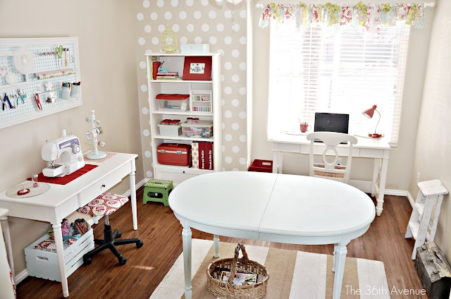 Photobucket: 36Th Avenu, Sewing Tables, Crafts Rooms, Rooms Tours, Polka Dots Wall, Rooms Ideas, Small Spaces, Sewing Rooms, Craft Rooms