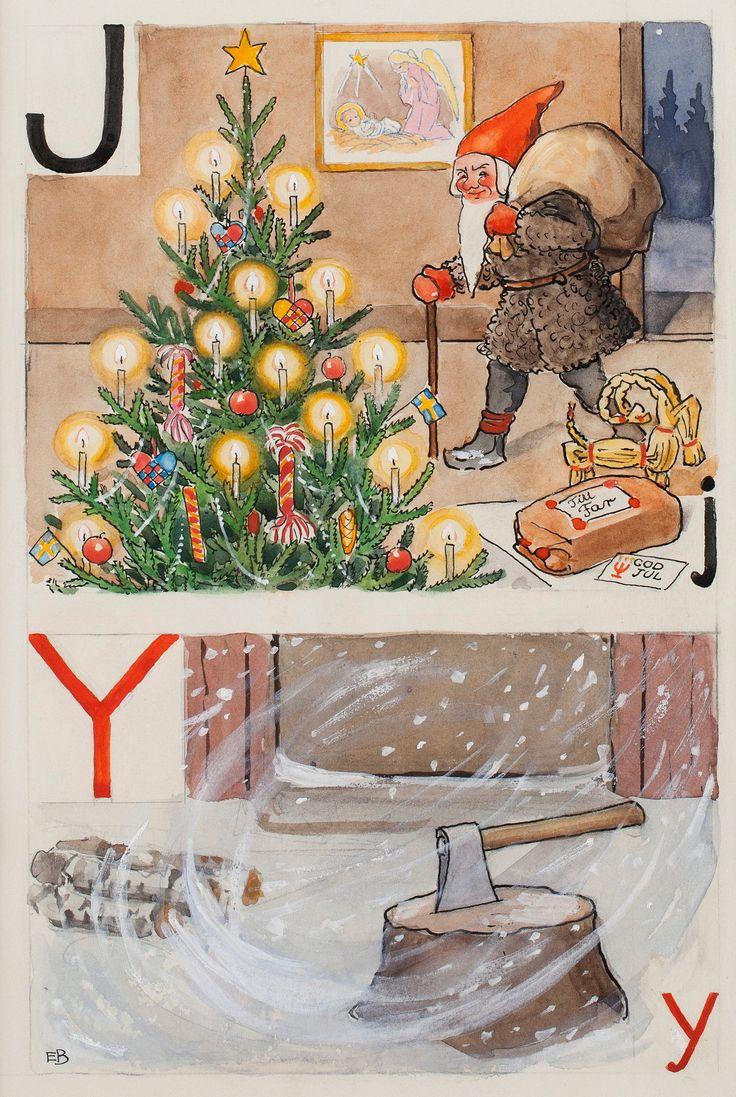 Elsa Beskow : J-julgran, julklapp och julbock Y-yxa, yrväder