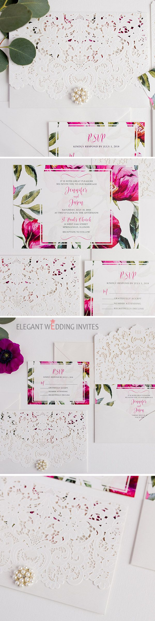lotus flower wedding invitations%0A Classic watercolor hot pink fuchsia floral laser cut wedding invitation  EWDK