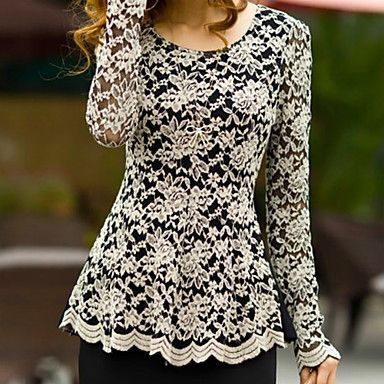 Women's Plus Size Lace Blouse - USD $ 19.63