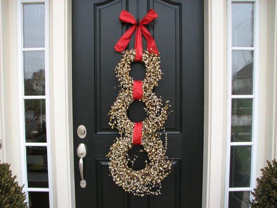 Christmas sale snowman wreath wreath snowman by for Front door xmas wreaths