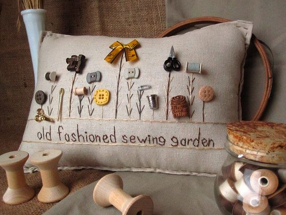 Old Fashioned Sewing Garden Pillow Cottage Style by PillowCottage, $25.00