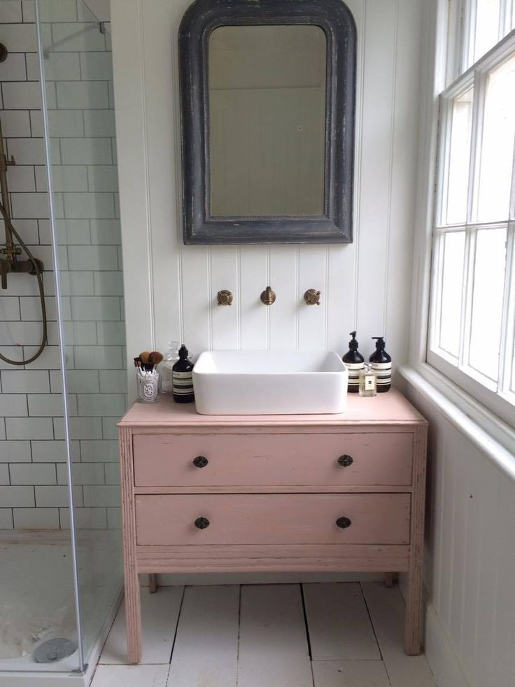 Makeover - Turning a chest of drawers into a bathroom sink unit. - Roses and Rolltops