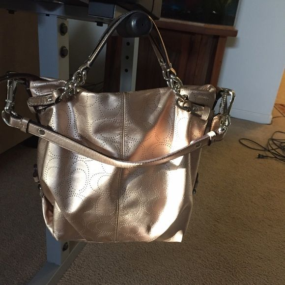 Coach Perforated Leather Metallic Bag Beautiful gold/copper metallic Coach purse! Coach Bags Shoulder Bags