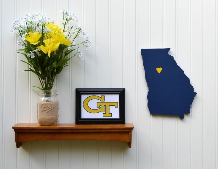 """Georgia Tech Yellow Jackets  """"State Heart"""" wall art, handcrafted wood with official team colors by StateYourTeam on Etsy https://www.etsy.com/listing/105524842/georgia-tech-yellow-jackets-state-heart"""