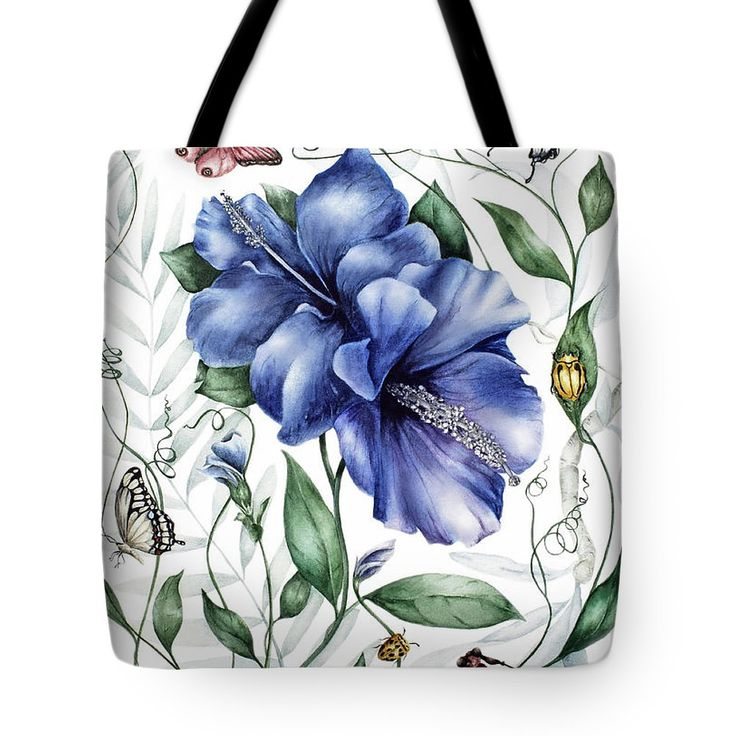 Bugs And Blue Hibiscus Tote Bag by Marie Burke.  The tote bag is machine washable, available in three different sizes, and includes a black strap for easy carrying on your shoulder.  All totes are available for worldwide shipping and include a money-back guarantee.