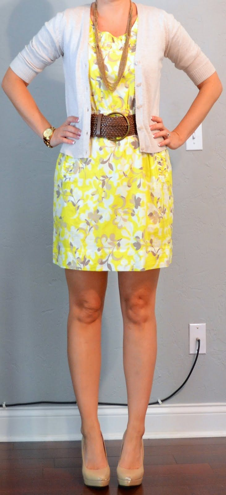 Outfit Posts: outfit post: yellow dress, tan cardian, wide belt. Love the belt on this outfit!