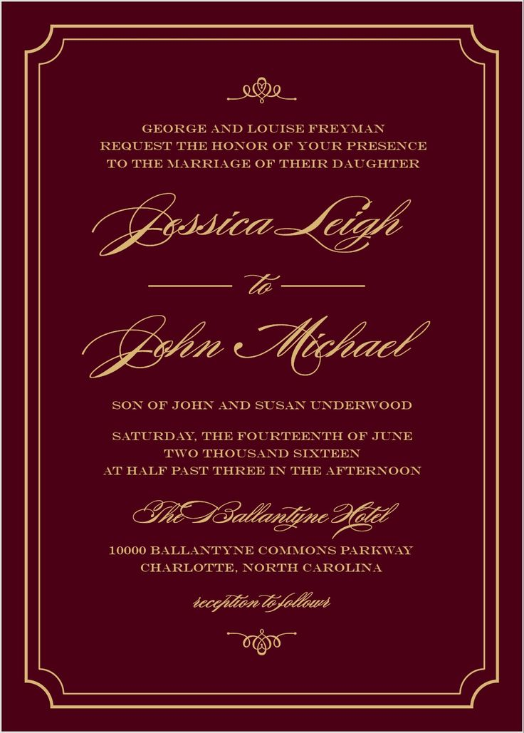 Elegant Script Foil Wedding Invitations