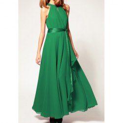 Retro Style Round Neck Sleeveless Women's Chiffon Long Dresses