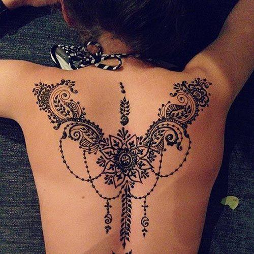 Intricate back henna design  #henna #tattoo #mehndi #womentriangle