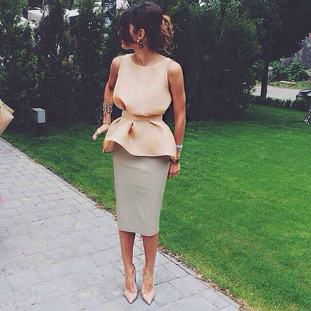 Love It : light blush gathered top and neutral pencil skirt with statement bangle