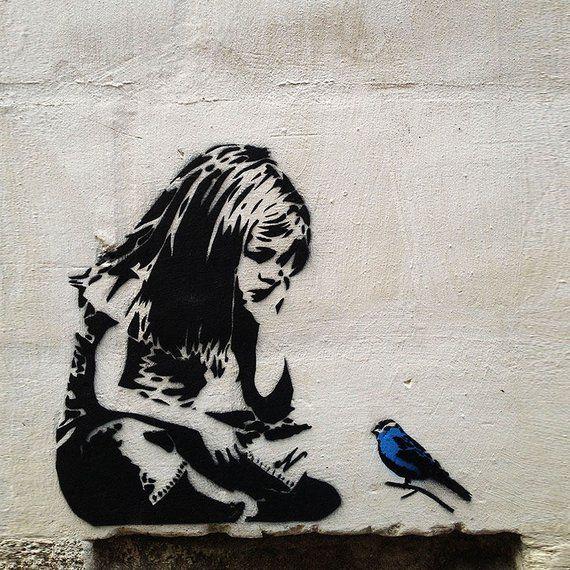 Banksy Graffiti Girl with Blue Bird, Large Metal Wall Art Print, Photo on Metal, Street Art Contemporary Art Dibond, Home Loft Office Art