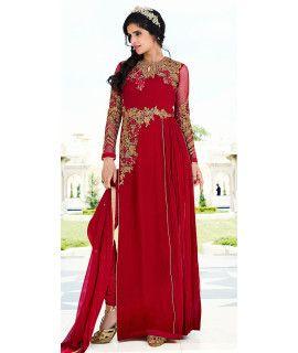 Vibrant Red Georgette Designer Salwar Suit.