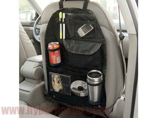 Organizér pre uchytenie na zadnú stranu sedačiek automobilu . Organizér disponuje dvoma nepriehľadnými vreckami, pri čom jedno je uzatvárateľné za pomoci suchého zipsu ďalšie štyri vrecká sú s priehľadnej sieťovej textílie z toho jedno je uzatváreteľné na suchý zips , dve sú určené na fľaše/alebo predmety guľatého valc. tvaru/ a jedno na drobné predmety , vo vrchnej časti organizéru sú všité štyri očká pre uchytenie písacích potrieb. Organizér do auta za predné sedadlo skvele poslúž...