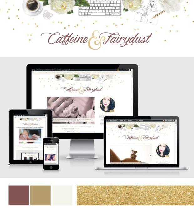 blog header design, logo design, gold, glitter, maroon, redesign