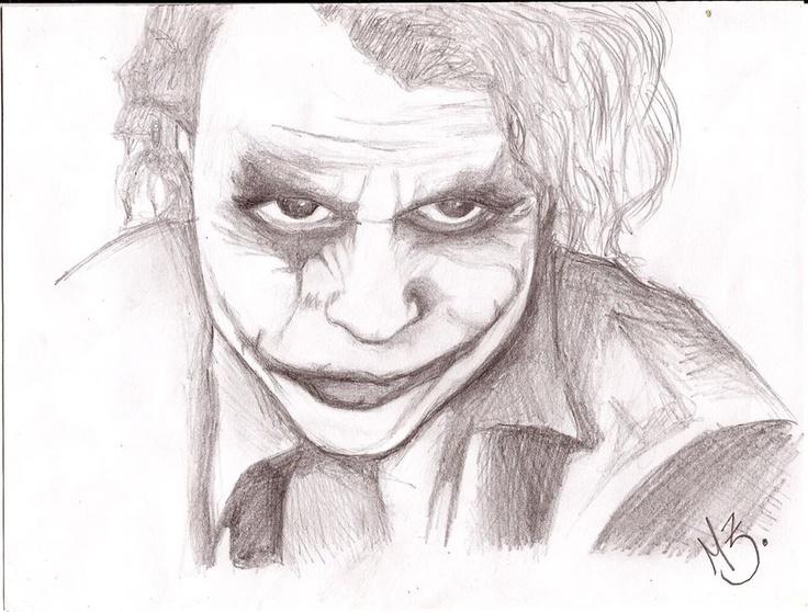 dibujo hecho con lápiz grafito inspirado en la imagen del guason.  creación propia. MZ.