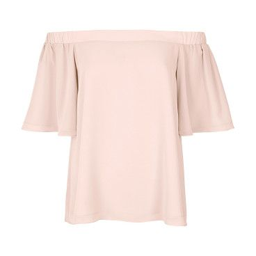"""light pink bardot top by River Island. Relaxed fit Bardot neckline Frilly short sleeves Our model wears a UK 8 and is 175cm/5'9"""" tall"""