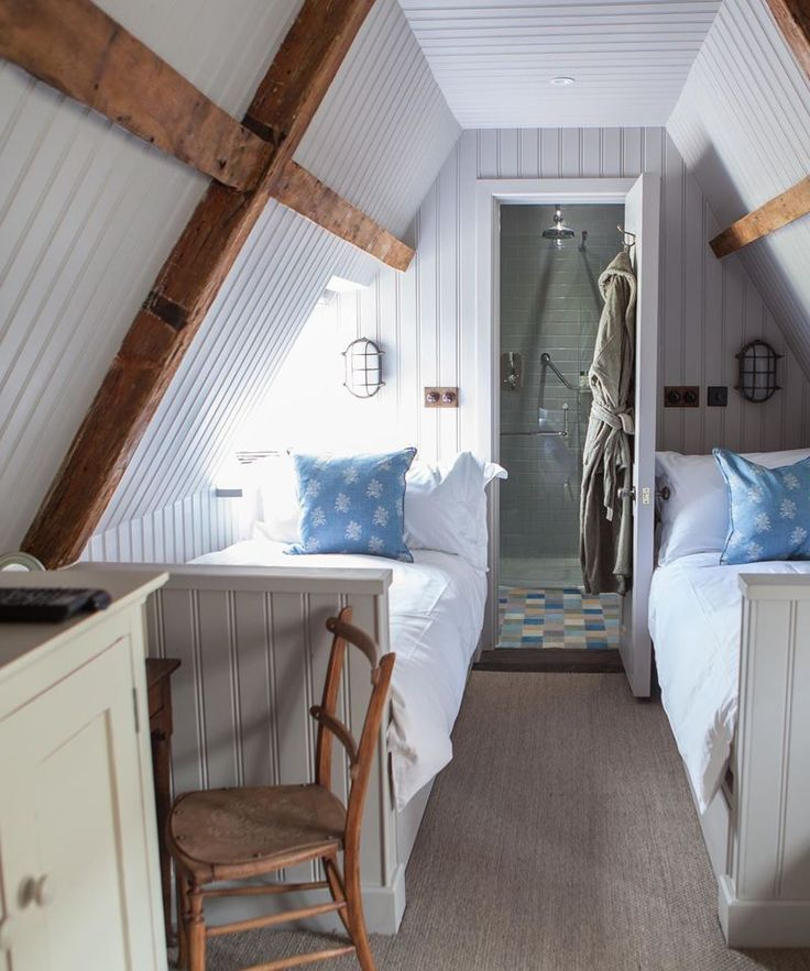 Cute bedrooms at The Pig on the Beach at Studland Bay in Dorset. Click through to discover more about this fab hotel