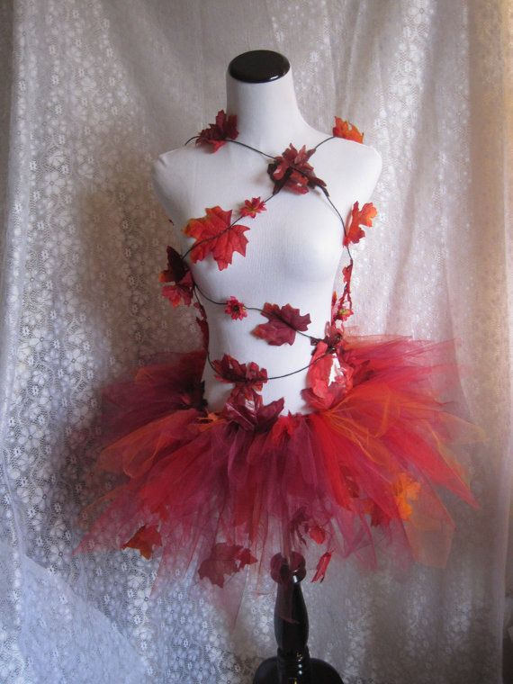 Adult Red Leaf Tutu Costume Cosplay Dress Up by pearlsandtulle