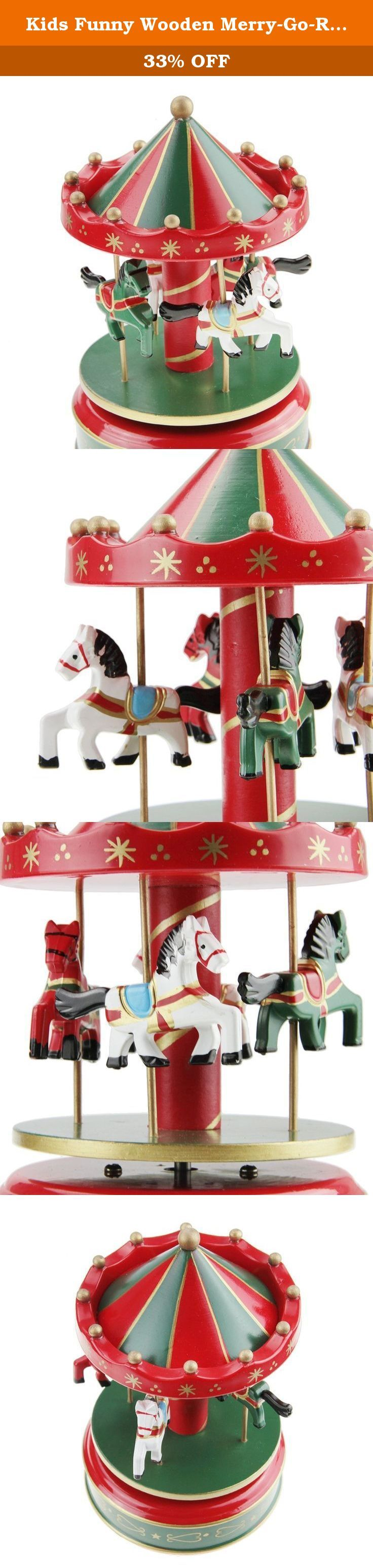 """Kids Funny Wooden Merry-Go-Round 4-Horse Rotate Carousel Music Box Toy Christmas Gift Red. Wooden Merry-Go-Round 4 Horses Rotating Music Box Christmas Birthday Gift Carousel Toy Please note: Greenery US shop provides a 90-day money back guarantee! So just take it easy when you purchase our products. For more products in our shop, you can search """"Greenery US"""" on Amazon website. Thanks! Why buy from us ??? *7*24 Tech. Support! *100% Satisfaction Guaranteed! *More considerate services! *More..."""