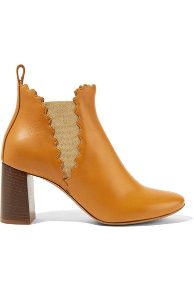 Chloé - Scalloped Leather Ankle Boots - Camel - IT40.5