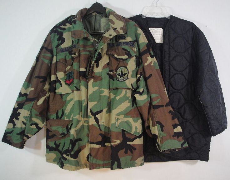 US Air Force Woodland Camo Camouflage Military Field Jacket and Liner M Reg SSgt #USMilitary #Military