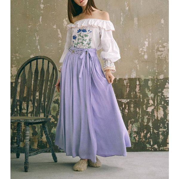 Fine Art Collection Princess Style White Embroidery Summer Blossom... ($125) ❤ liked on Polyvore featuring skirts, grey, women's clothing, floor length skirt, white maxi skirt, summer maxi skirts, summer skirts and purple skirt
