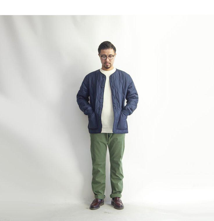 LAOTOUR ナチュラルバリア ひょうたんキルティング ノーカラー中綿ジャケット メンズ