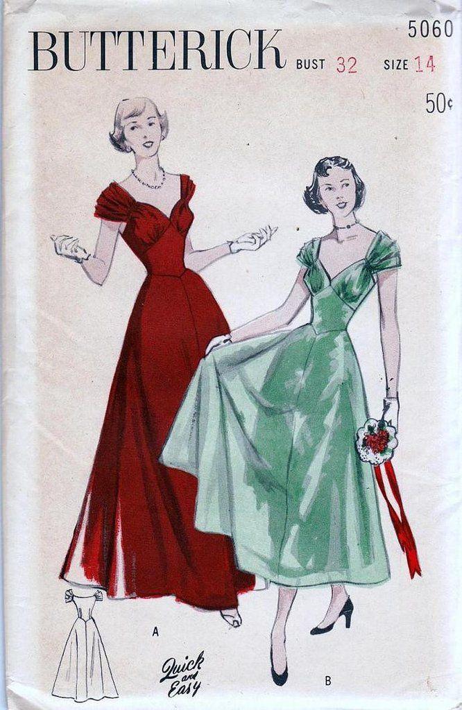 Butterick 5060 1950s Vintage Draped Bodice Cocktail Dress Pattern Size 12 Bust 32 UNUSED Factory Folds