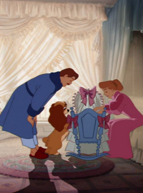 Lady and the Tramp, I kinda hope that Dax will be as gentle with out future baby as Lady is with the baby
