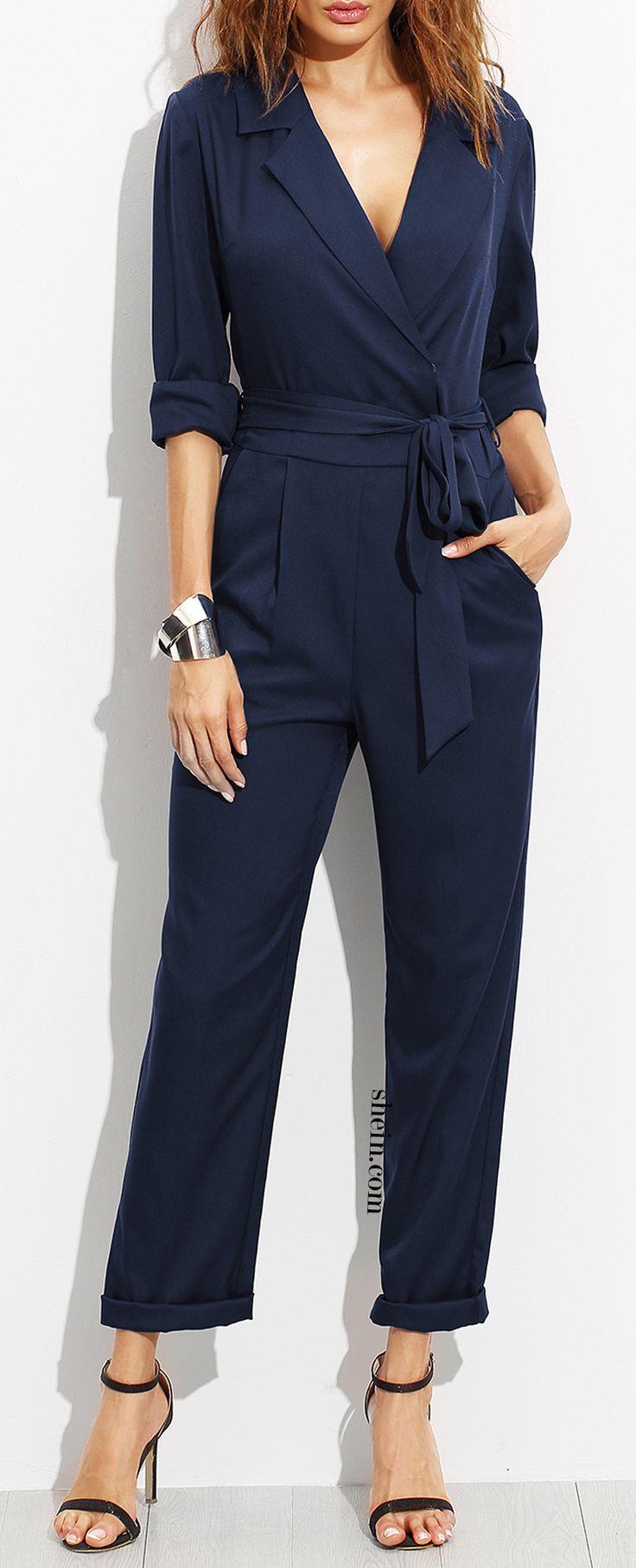 Navy Surplice Self Tie Tux Jumpsuit