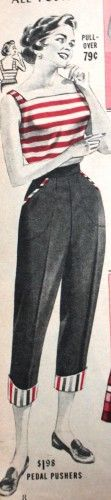 1958 Denim Capri Jeans - The Italian or Roman look with denim capris and and striped shirt.