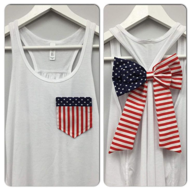 American Flag Pocket and Bow Tank, Bow Tank Top, Star Tank Top, 4th of July…